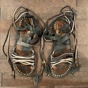 Free People Ankle Wrap Leather Sandals Sz 38